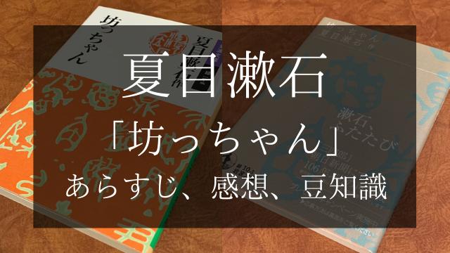 夏目漱石 「坊っちゃん」 あらすじ、感想